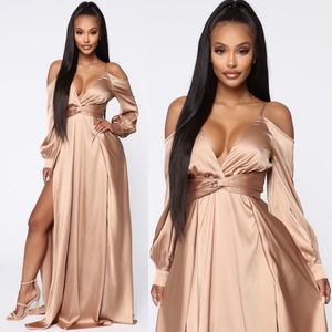 Gold Satin Off The Shoulder Gown